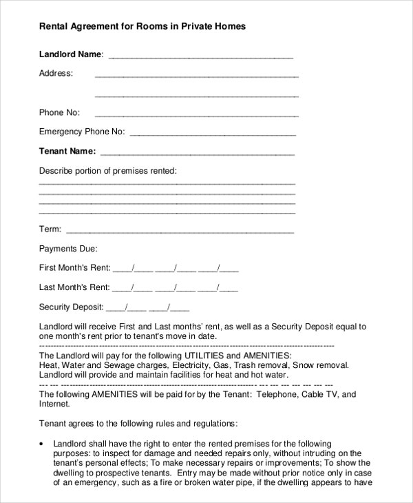 house accommodation agreement sample