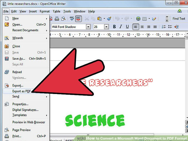 iamge of converting a document from microsoft word to pdf