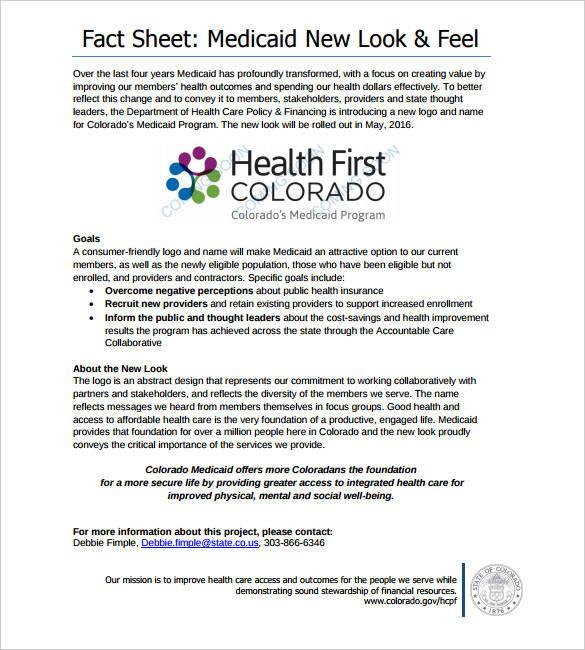 fact sheet sample