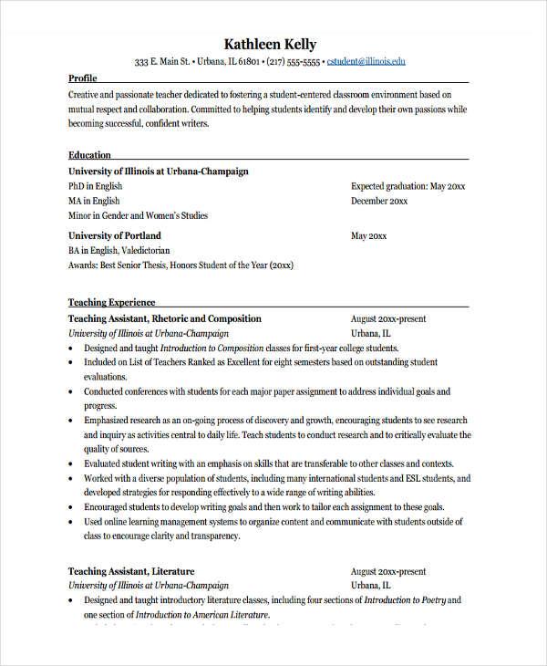 fresher lecturer resume sample pdf