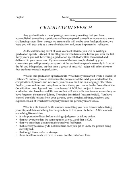 graduation speech sample middle school