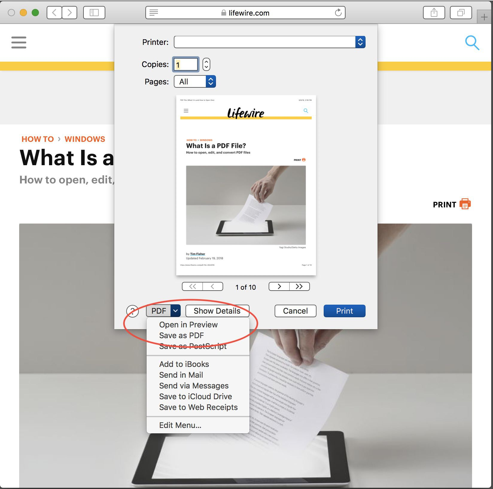 how to save a page as a pdf